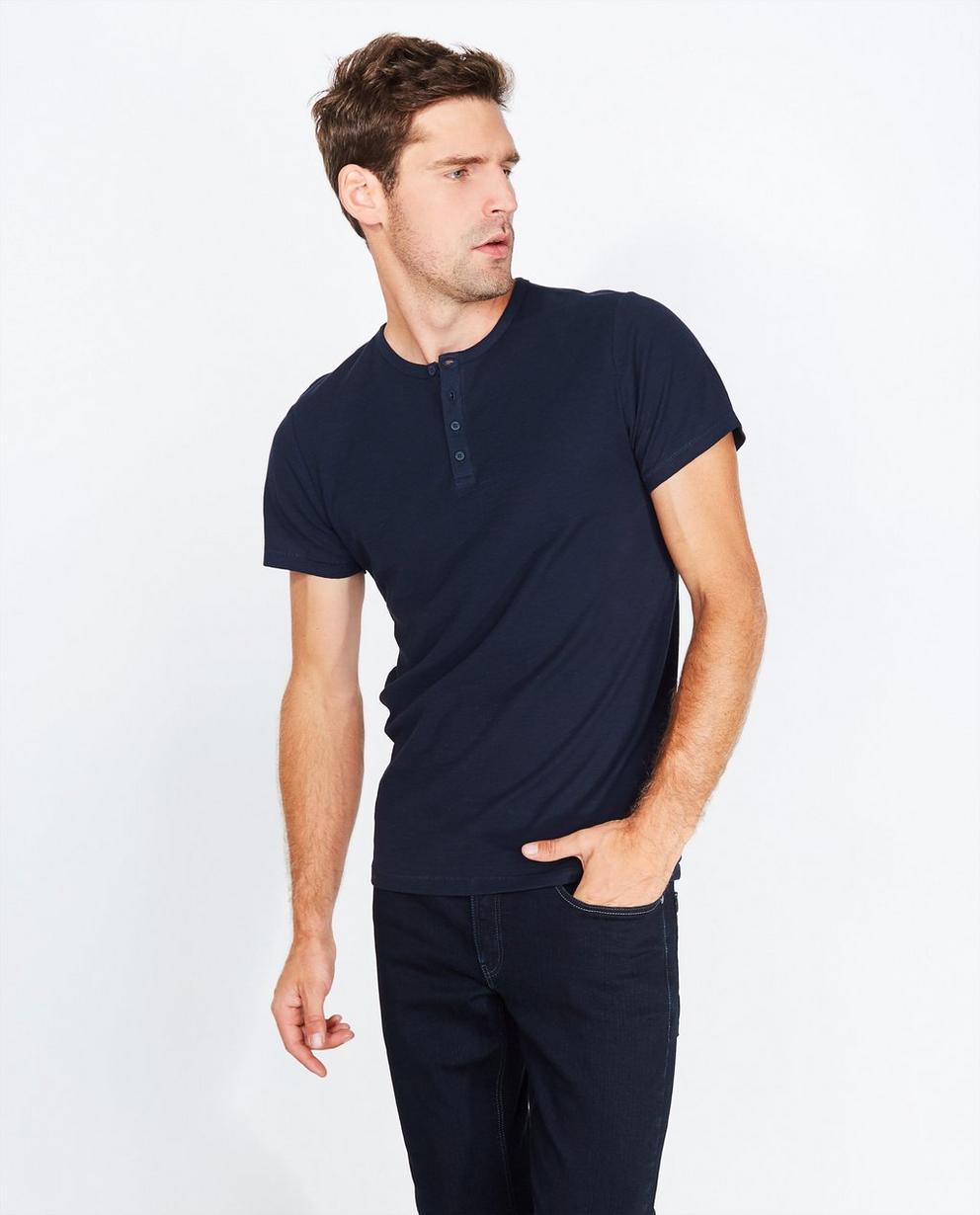 Marineblauw T-shirt - met knopenrij - Quarterback